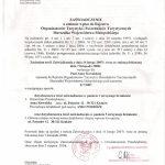 Zaświadczenie o zmianie wpisu do Rejestru Organizatorów Turystyki i Pośredników Turystycznych Marszałka Województwa Małopolskiego