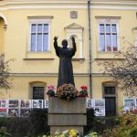 The statue of the John Paul II in the courtyard, the Bishop Palace