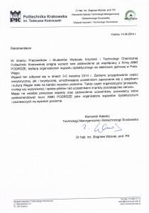 Rekomendacja WIiTCH Politechnika Krakowska